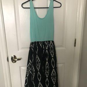 Blue and black maxi dress